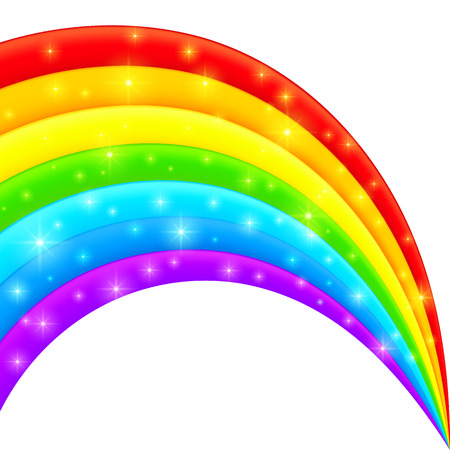 Vector plastic bright shining rainbow with magic lights Vector