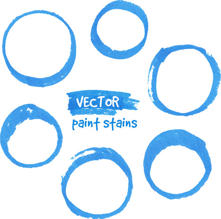 Blue marker paint vector circles set Vector
