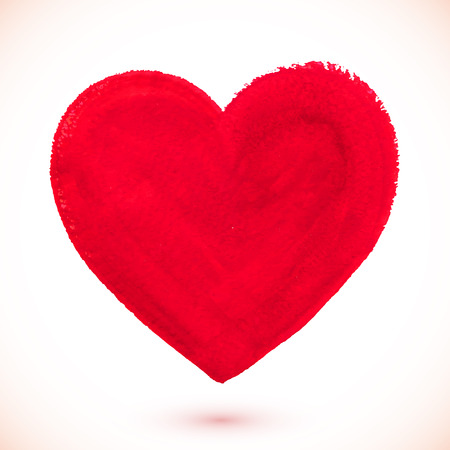 gouache: Red acrylic color textured painted vector heart