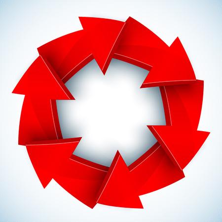 ciclo de vida: Las flechas rojas cerradas vector círculo con la sombra