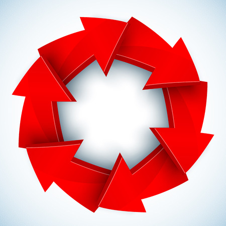 Red arrows closed vector circle with shadow Vector