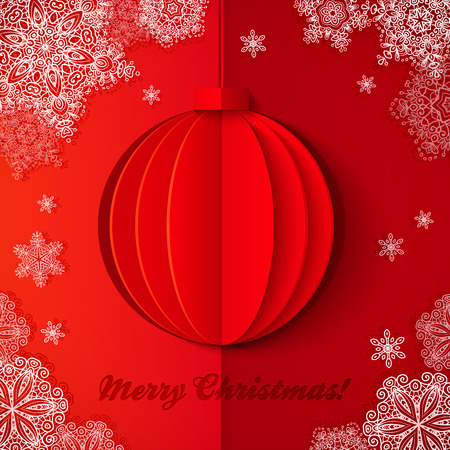 Red origami paper vector realistic Christmas ball Vector