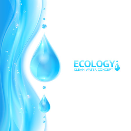 gocce di acqua: Gocce d'acqua vettore ecologia sfondo Vettoriali