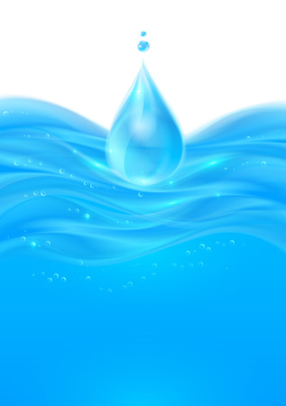 water flow: Blue realistic vector water smooth shining background Illustration