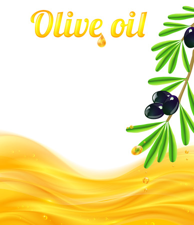 Olive oil and branches with olives vector background Vector