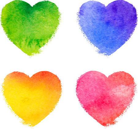 Colorful watercolor painted hearts vector isolated set
