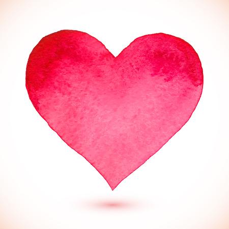 Leuchtend rosa Aquarell gemalt isolierten Vektor-Herzen