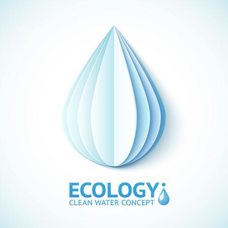 ahorrar agua: Vector blanco gota de agua de papel en estilo de origami Vectores