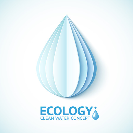save energy icons: White vector paper water drop in origami style