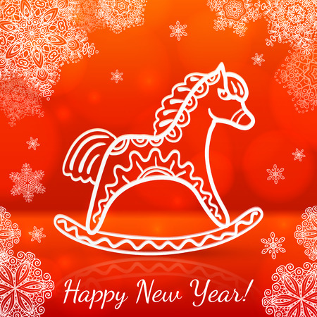 sihlouette: Red new year vector card with white paper horse