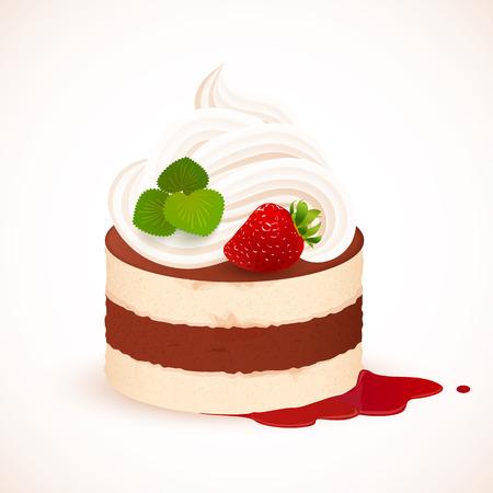 Tiramisu cake met slagroom en aardbeien, vector illustratie