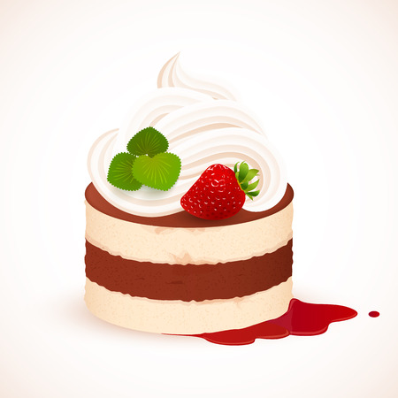 Tiramisu cake with cream and strawberry, vector illustration
