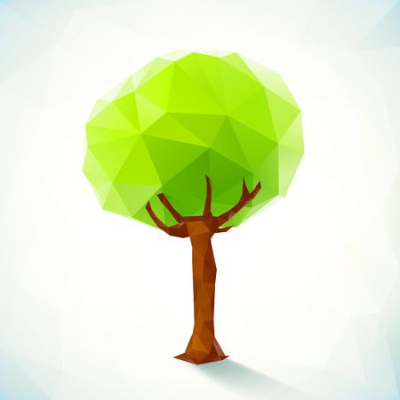 Abstract polygonal vector green tree on white background Vector
