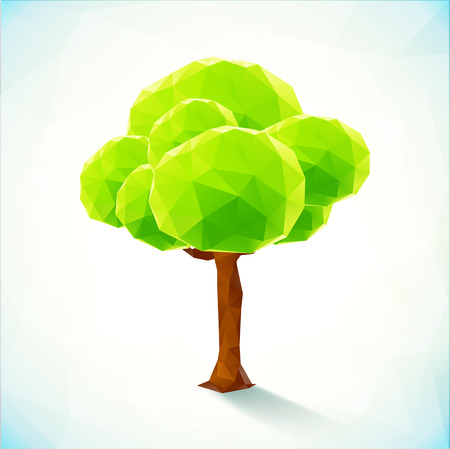 polygonal: Abstract polygonal vector green tree on white background Illustration