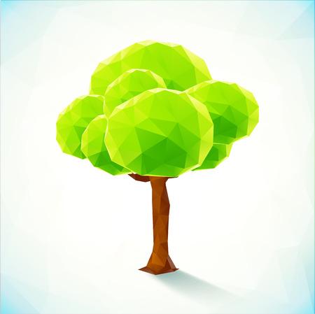 Streszczenie wektora zielone drzewo poligonalny na białym tle