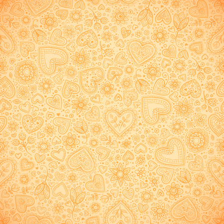 Sweet doodle beige hearts vector seamless pattern Vector