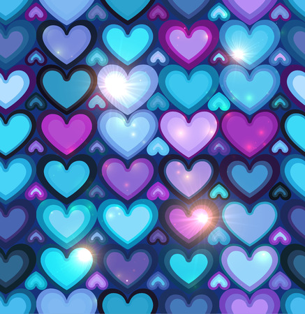 Dark blue shining hearts vector seamless pattern Vector