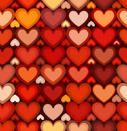 mottled: Red mottled bright hearts vector seamless pattern