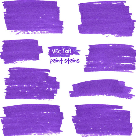 Violet marker textured paper vector stains set Vector