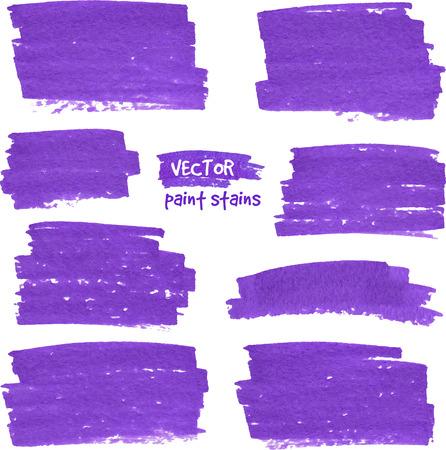 textured paper: Violet marker textured paper vector stains set