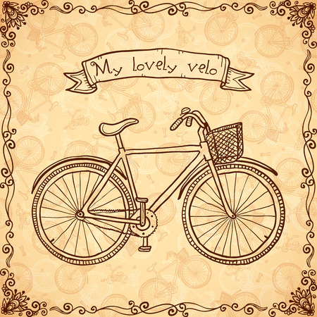 velo: Vintage bicycle hand drawn beige vector card Illustration