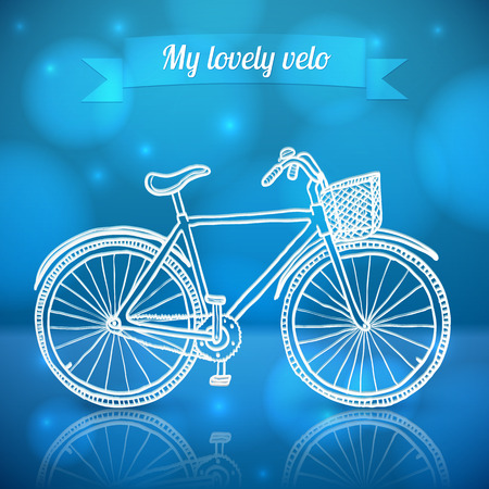 White doodle vector bike on blue shining background Vector