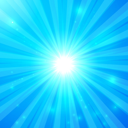 abstract backround: Blue vector shining light rays sunny background