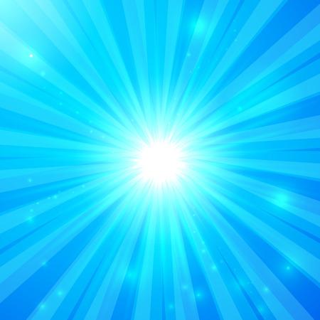 shining light: Vector azul brillantes rayos de luz de fondo soleado Vectores