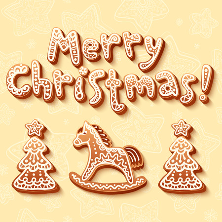 spice cake: Merry Christmas gingerbread sign, horse and trees vector set