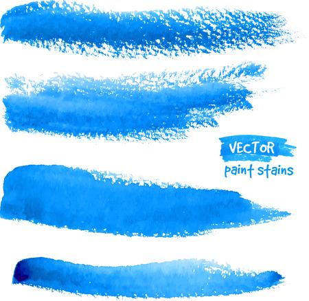Heldere blauwe aquarel realistische borstel vector slagen
