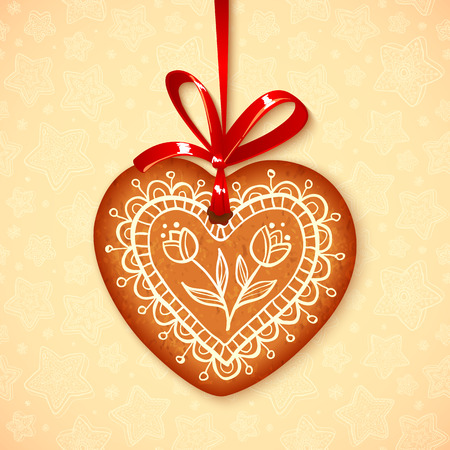 Realistic vector gingerbread heart on red ribbon Vector