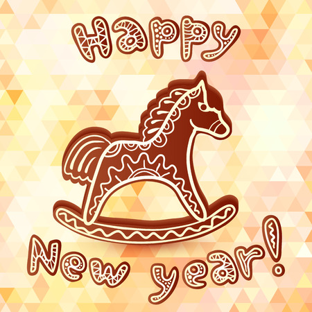 gingerbread heart: Chocolate vector horse new year greeting card Illustration