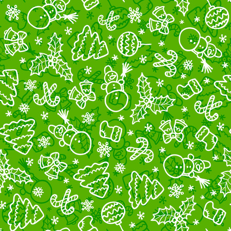 Green christmas vector seamless pattern in cartoon style Vector