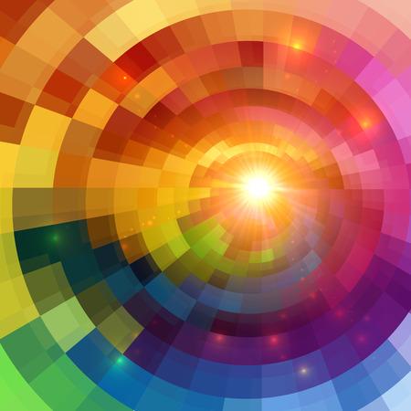 추상 다채로운 빛나는 원형 터널 줄 지어 배경