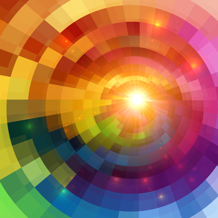 rainbow color star: Abstract colorful shining circle tunnel lined background