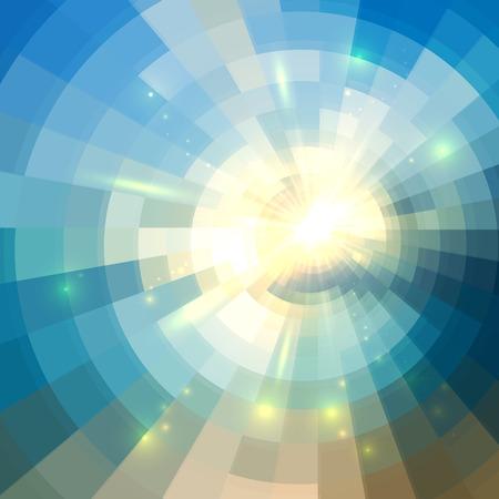 Blauwe vector winter zon in mozaïek glazen venster