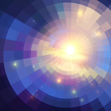 concentric circles: Abstract violet shining circle tunnel lined background Illustration