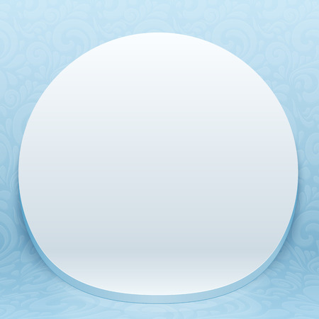 White realistic plastic round vector backdrop on blue ornate background Vector
