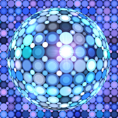 glittery: Blue shining vector disco ball abstract background