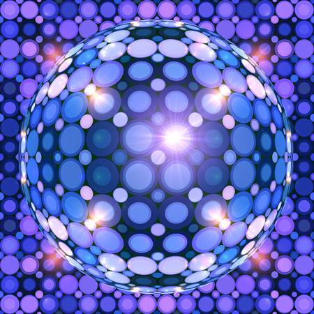 Blue shining vector disco ball abstract background