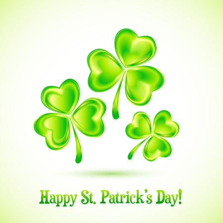 Shining clovers vector Patricks day greeting card template Vector