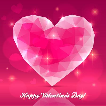 corazon cristal: Pink coraz�n de cristal transparente, tarjeta de felicitaci�n de vectores Vectores