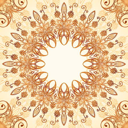 hand outline: Ornate vintage circle vector seamless pattern in mehndi style