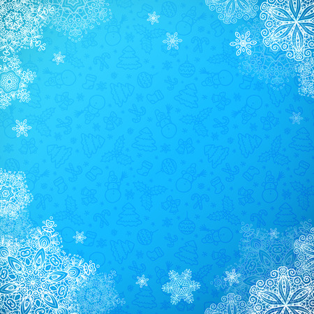 frosted window: Blue snowy ornate Christmas background with snowflakes Illustration
