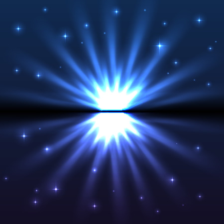 warp: Bright blue vector explode, abstract cosmic background