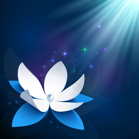 Night cosmic blue paper flower vector background Vector
