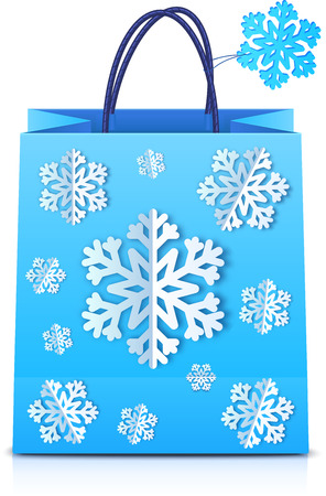 christmas shopping bag: Blue vector Christmas shopping bag with paper snowflakes
