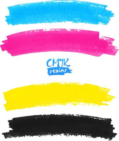 Macchie di pennarello colori CMYK vettore pennello