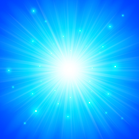 Blue shining vector sun background with magic lights Vector