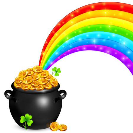 Pot of gold with magic rainbow and clovers